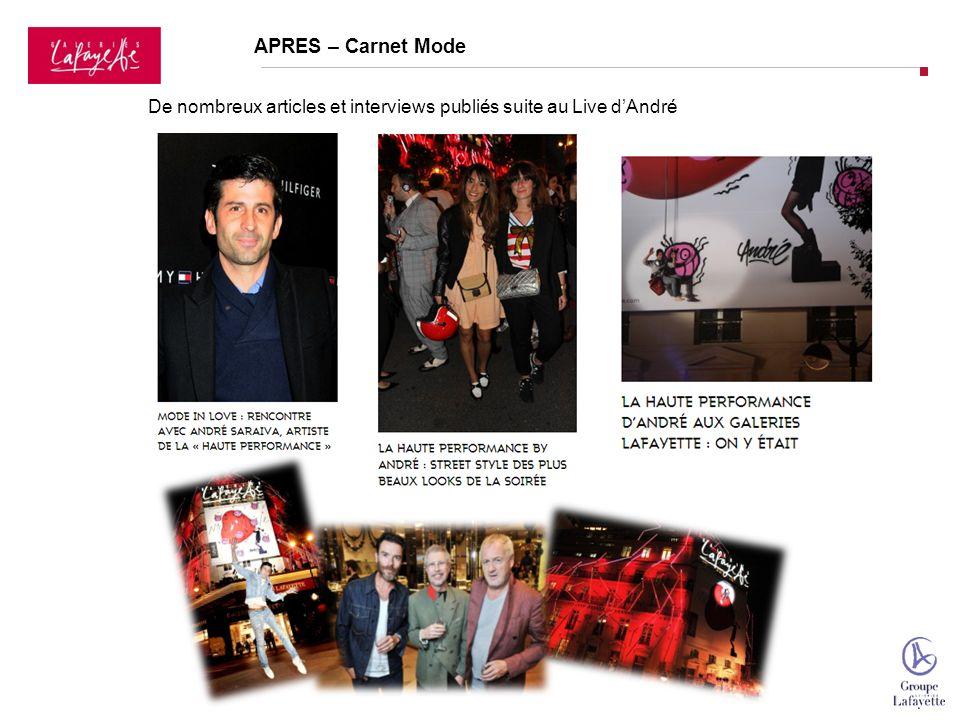 De nombreux articles et interviews publiés suite au Live dAndré APRES – Carnet Mode