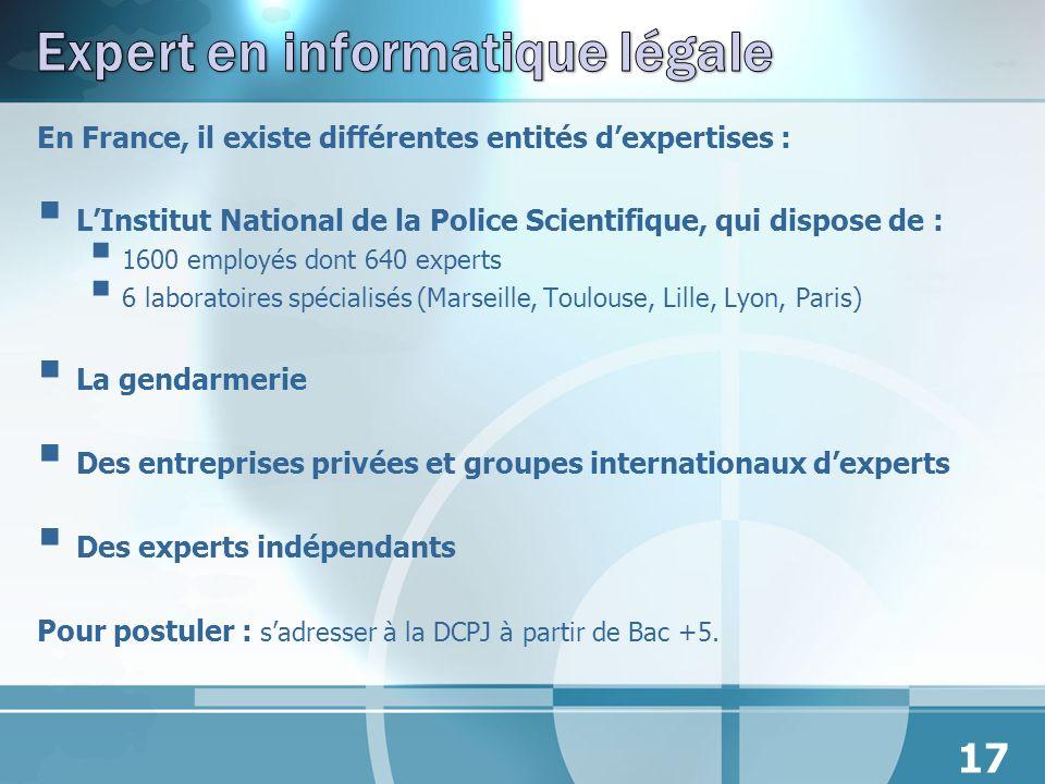 En France, il existe différentes entités dexpertises : LInstitut National de la Police Scientifique, qui dispose de : 1600 employés dont 640 experts 6