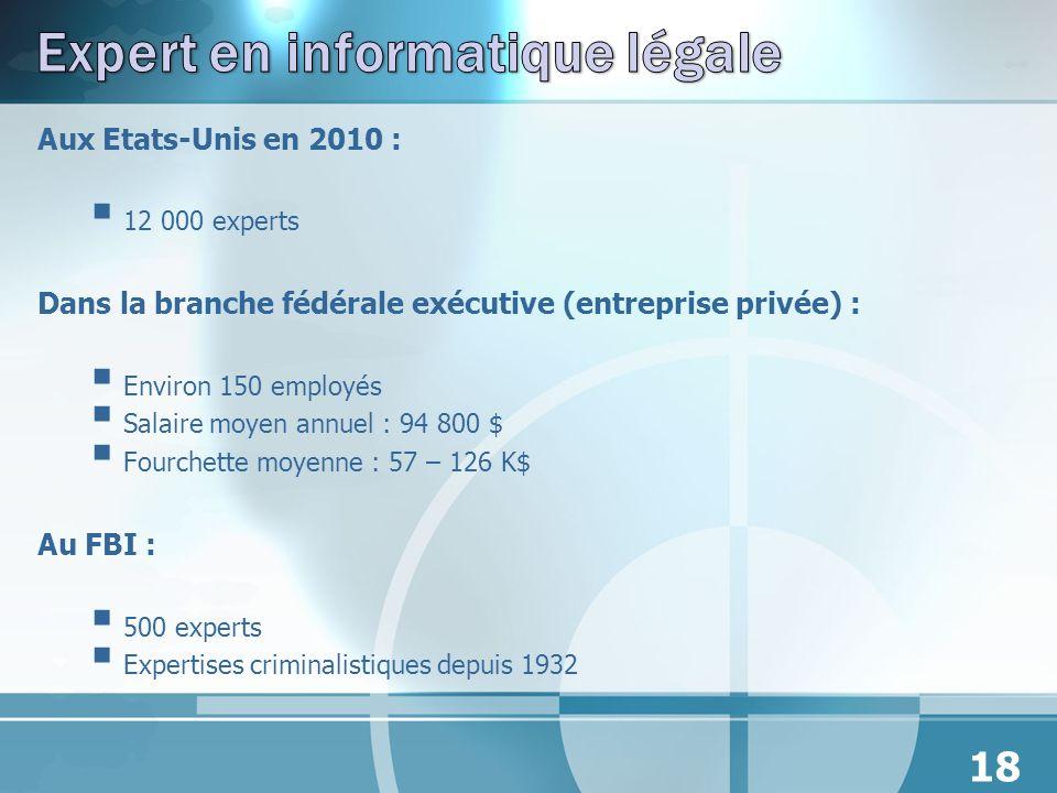 Aux Etats-Unis en 2010 : 12 000 experts Dans la branche fédérale exécutive (entreprise privée) : Environ 150 employés Salaire moyen annuel : 94 800 $