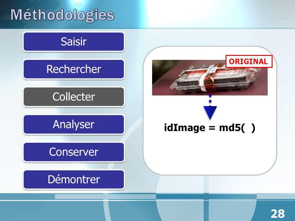 SaisirRechercherCollecterAnalyserConserverDémontrer 28 idImage = md5( ) ORIGINAL