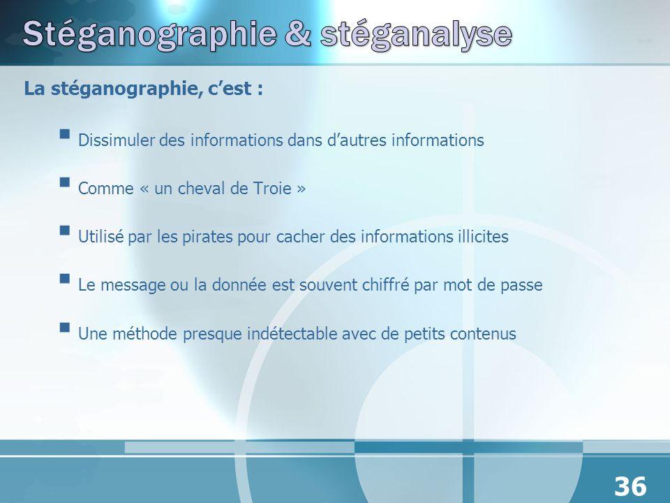 La stéganographie, cest : Dissimuler des informations dans dautres informations Comme « un cheval de Troie » Utilisé par les pirates pour cacher des i
