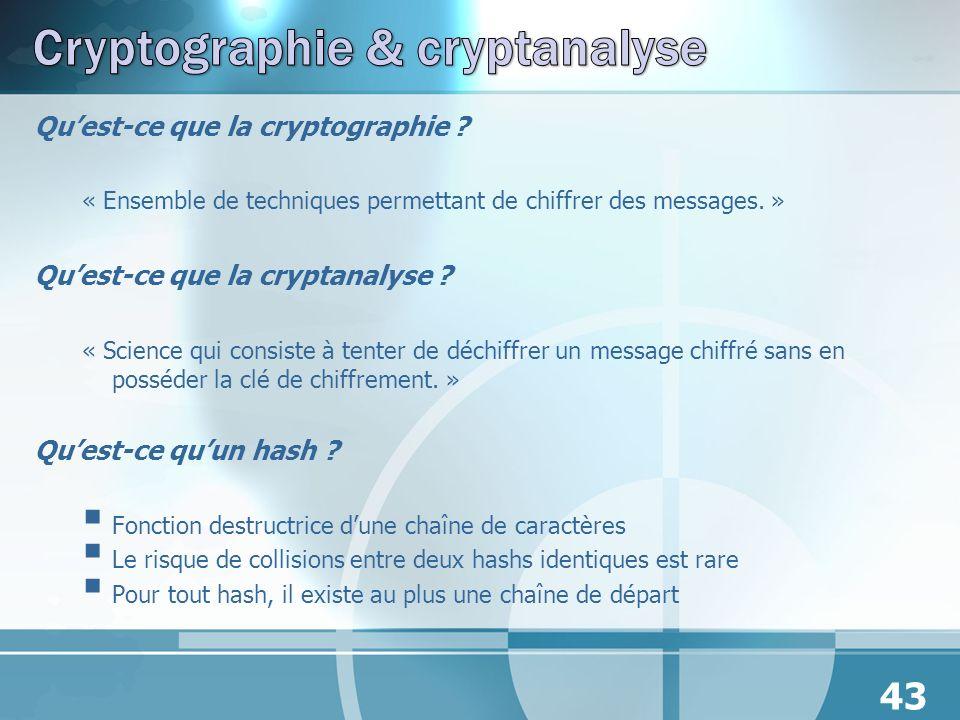 Quest-ce que la cryptographie ? « Ensemble de techniques permettant de chiffrer des messages. » Quest-ce que la cryptanalyse ? « Science qui consiste