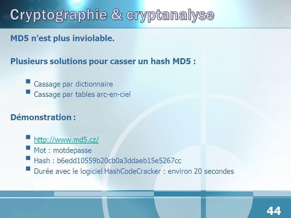 MD5 nest plus inviolable. Plusieurs solutions pour casser un hash MD5 : Cassage par dictionnaire Cassage par tables arc-en-ciel Démonstration : http:/