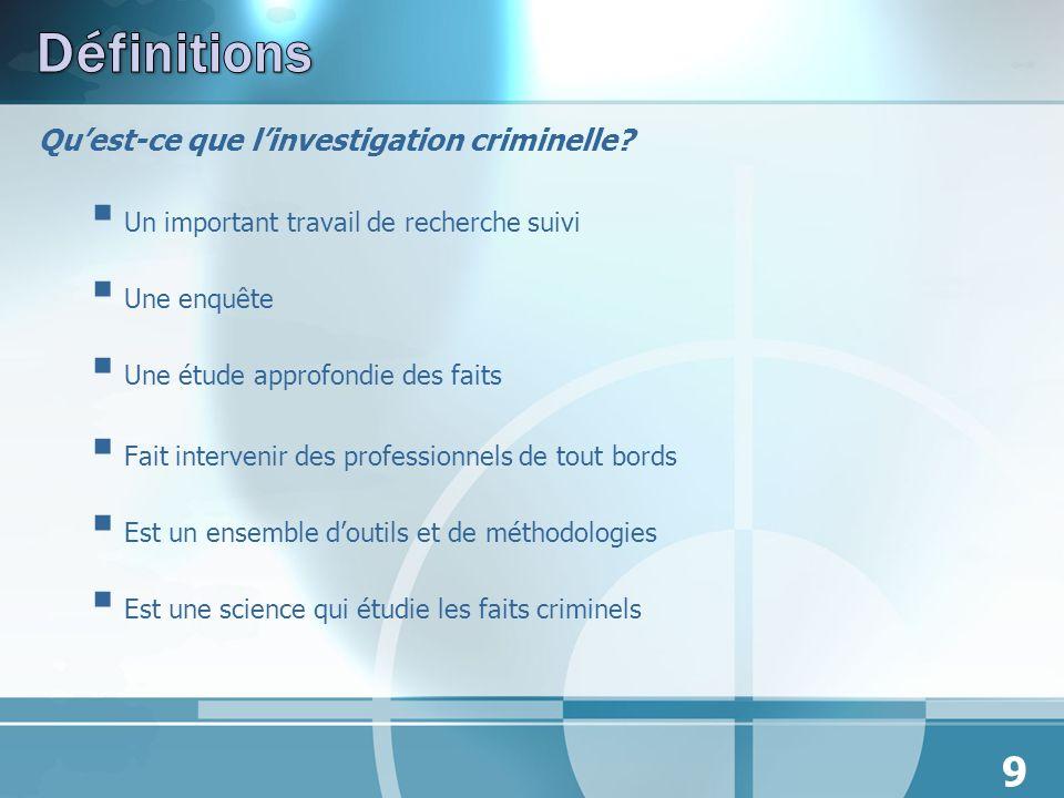 Quest-ce que linvestigation criminelle? Un important travail de recherche suivi Une enquête Une étude approfondie des faits Fait intervenir des profes
