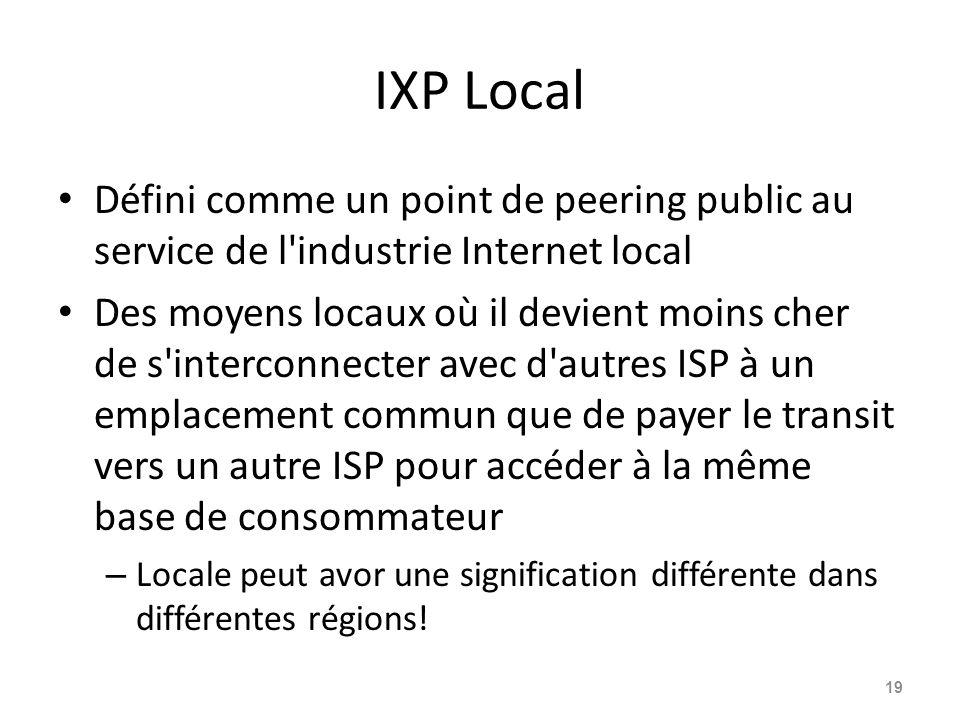 IXP Local Défini comme un point de peering public au service de l'industrie Internet local Des moyens locaux où il devient moins cher de s'interconnec