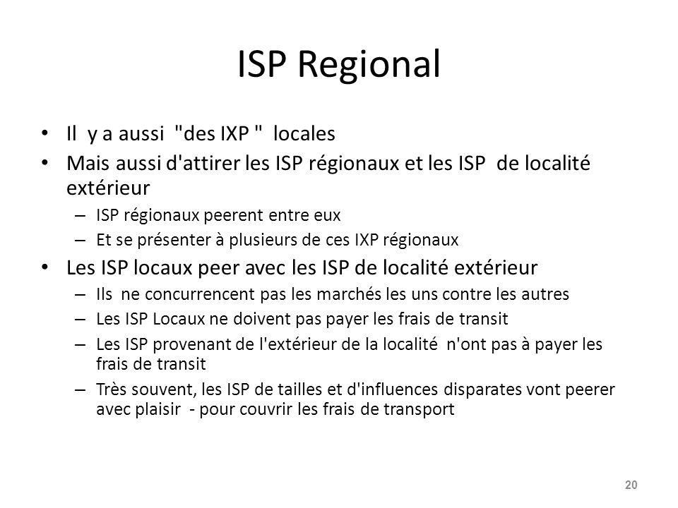 ISP Regional Il y a aussi
