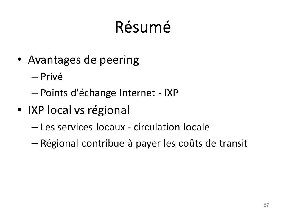 Résumé Avantages de peering – Privé – Points d'échange Internet - IXP IXP local vs régional – Les services locaux - circulation locale – Régional cont