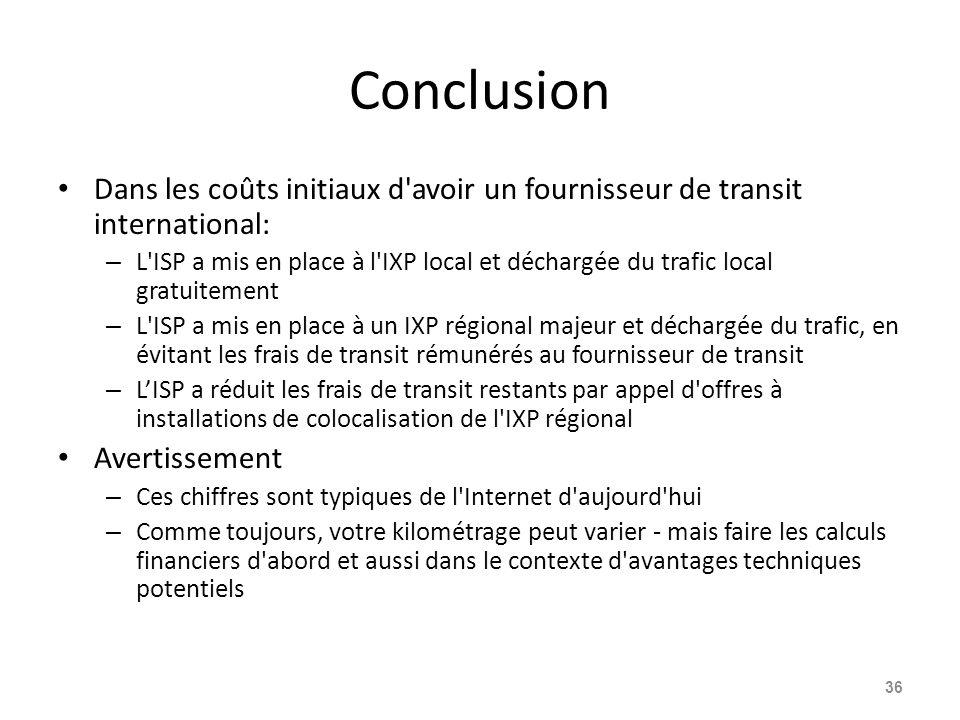 Conclusion Dans les coûts initiaux d'avoir un fournisseur de transit international: – L'ISP a mis en place à l'IXP local et déchargée du trafic local
