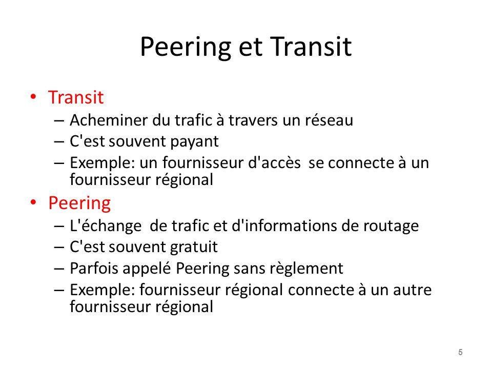 Peering et Transit Transit – Acheminer du trafic à travers un réseau – C'est souvent payant – Exemple: un fournisseur d'accès se connecte à un fournis