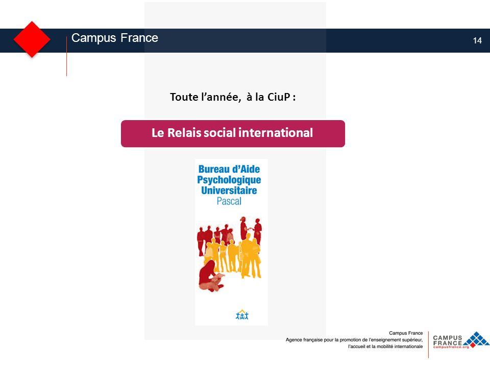 14 Campus France Le Relais social international Toute lannée, à la CiuP :