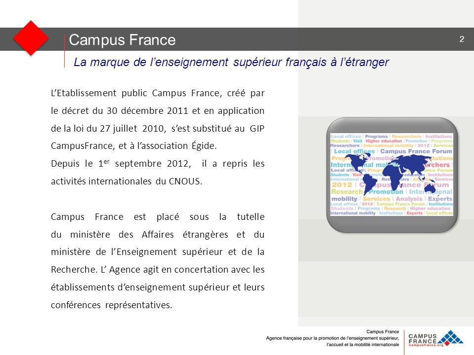 Campus France La marque de lenseignement supérieur français à létranger LEtablissement public Campus France, créé par le décret du 30 décembre 2011 et