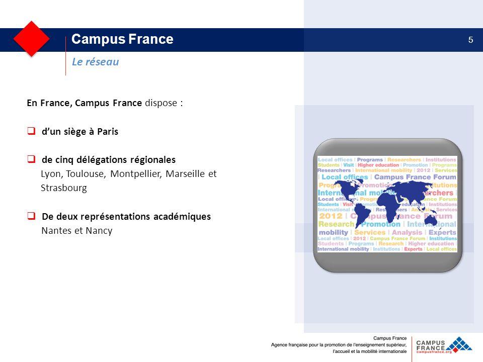 Les entreprises et les collectivités territoriales 5 En France, Campus France dispose : dun siège à Paris de cinq délégations régionales Lyon, Toulous