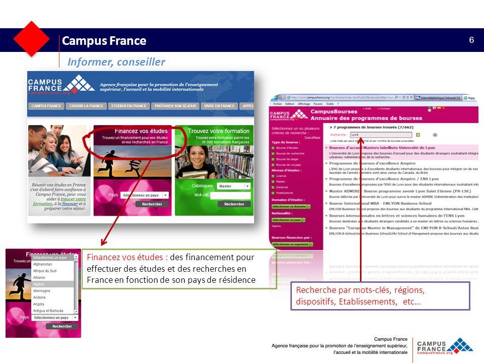 Campus France 6 Informer, conseiller Financez vos études : des financement pour effectuer des études et des recherches en France en fonction de son pa