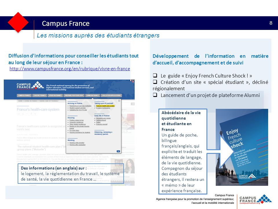 Développement de linformation en matière daccueil, daccompagnement et de suivi Le guide « Enjoy French Culture Shock ! » Création dun site « spécial é