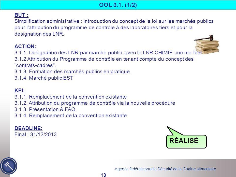 Agence fédérale pour la Sécurité de la Chaîne alimentaire 18 BUT : Simplification administrative : introduction du concept de la loi sur les marchés p