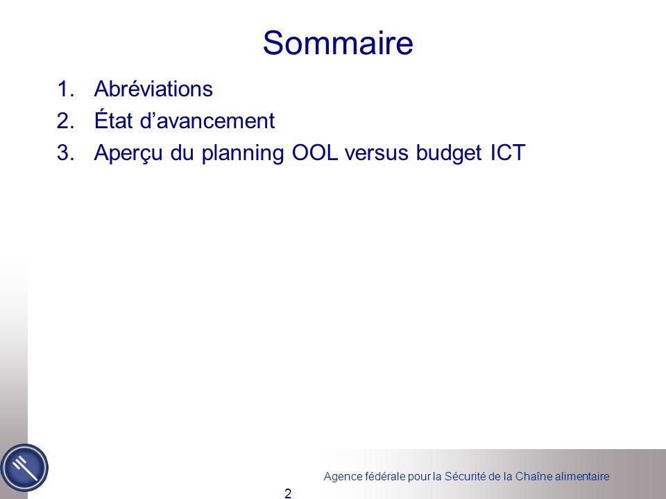 Agence fédérale pour la Sécurité de la Chaîne alimentaire Sommaire 1.Abréviations 2.État davancement 3.Aperçu du planning OOL versus budget ICT 2
