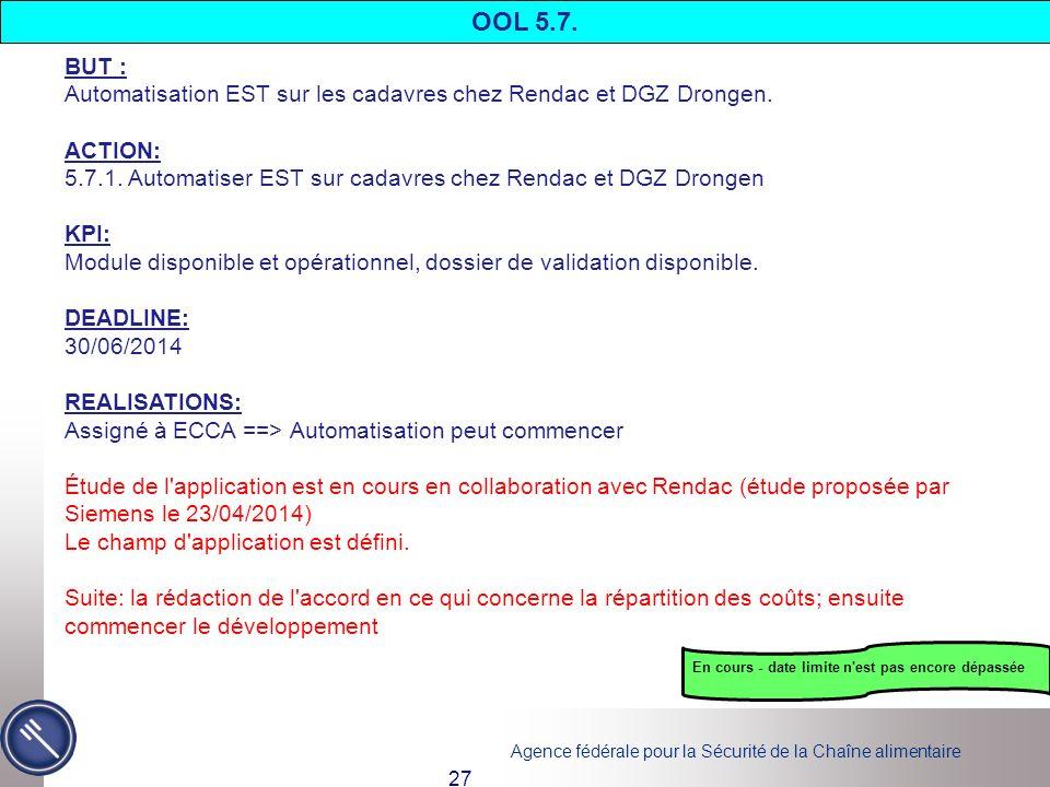 Agence fédérale pour la Sécurité de la Chaîne alimentaire 27 BUT : Automatisation EST sur les cadavres chez Rendac et DGZ Drongen. ACTION: 5.7.1. Auto