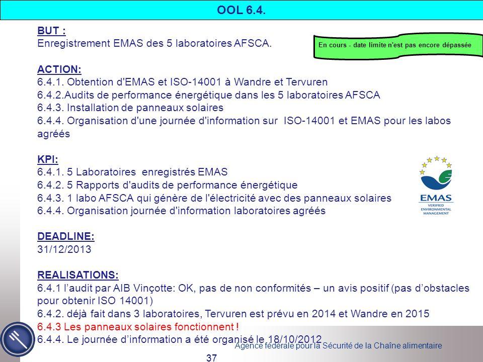 Agence fédérale pour la Sécurité de la Chaîne alimentaire 37 BUT : Enregistrement EMAS des 5 laboratoires AFSCA. ACTION: 6.4.1. Obtention d'EMAS et IS