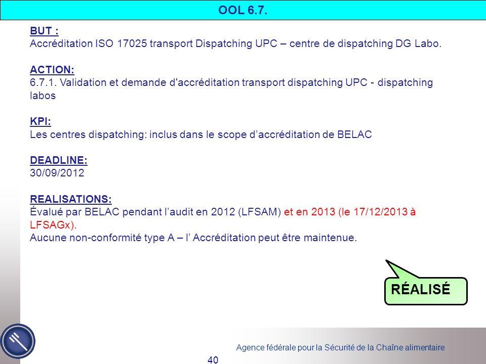 Agence fédérale pour la Sécurité de la Chaîne alimentaire 40 BUT : Accréditation ISO 17025 transport Dispatching UPC – centre de dispatching DG Labo.