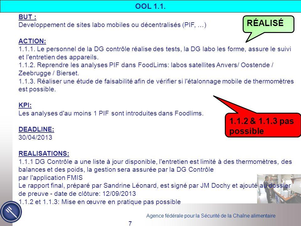 Agence fédérale pour la Sécurité de la Chaîne alimentaire 7 OOL 1.1. BUT : Developpement de sites labo mobiles ou décentralisés (PIF, …) ACTION: 1.1.1