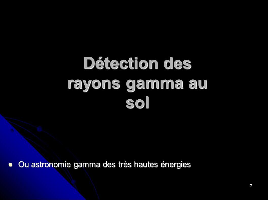 7 Détection des rayons gamma au sol Ou astronomie gamma des très hautes énergies Ou astronomie gamma des très hautes énergies