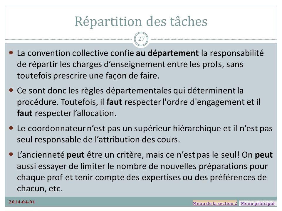 Menu principal Répartition des tâches La convention collective confie au département la responsabilité de répartir les charges denseignement entre les