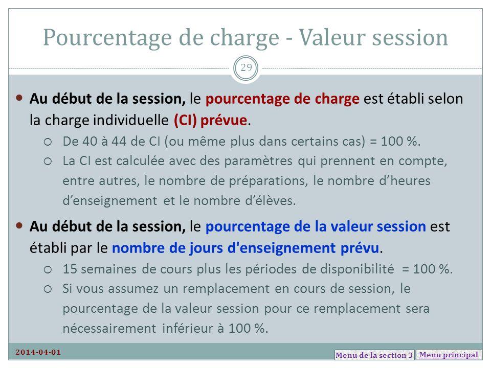Menu principal Pourcentage de charge - Valeur session Au début de la session, le pourcentage de charge est établi selon la charge individuelle (CI) pr