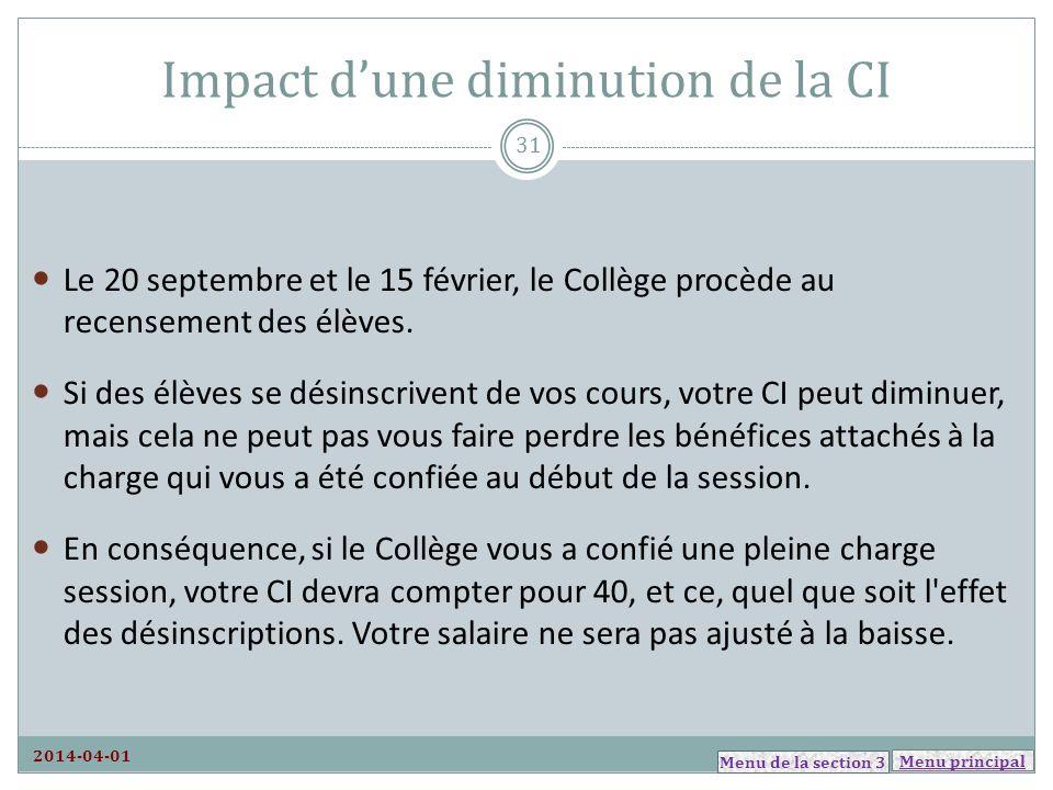 Menu principal Impact dune diminution de la CI 2014-04-01 Le 20 septembre et le 15 février, le Collège procède au recensement des élèves. Si des élève
