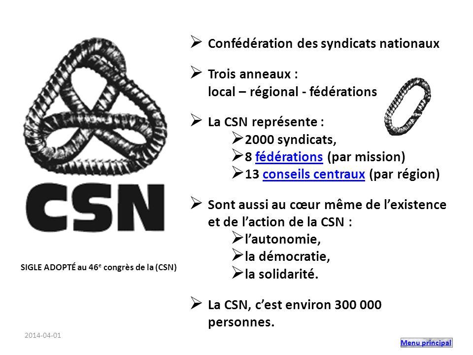 Menu principal Confédération des syndicats nationaux Trois anneaux : local – régional - fédérations La CSN représente : 2000 syndicats, 8 fédérations