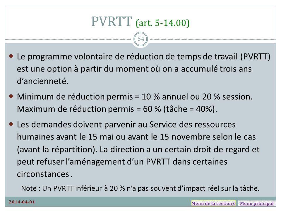 Menu principal PVRTT (art. 5-14.00) 2014-04-01 Le programme volontaire de réduction de temps de travail (PVRTT) est une option à partir du moment où o