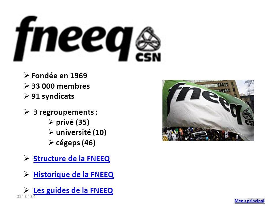 Menu principal Fondée en 1969 33 000 membres 91 syndicats 3 regroupements : privé (35) université (10) cégeps (46) Structure de la FNEEQ Historique de