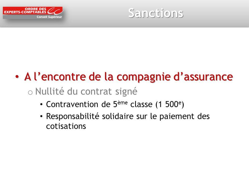 Sanctions A lencontre de la compagnie dassurance A lencontre de la compagnie dassurance o Nullité du contrat signé Contravention de 5 ème classe (1 50