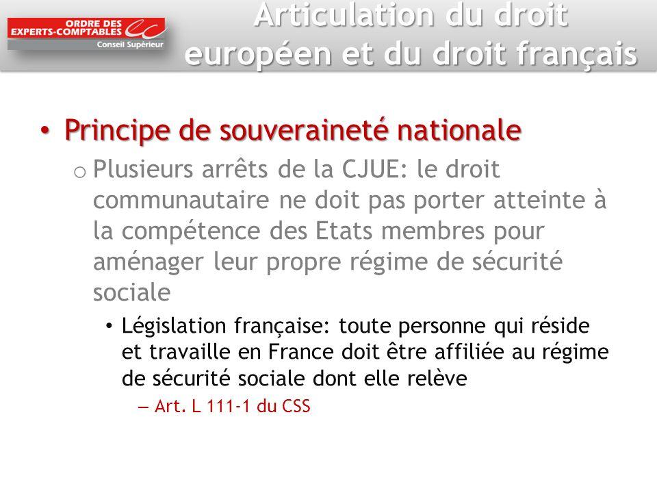 Articulation du droit européen et du droit français Principe de souveraineté nationale Principe de souveraineté nationale o Plusieurs arrêts de la CJU