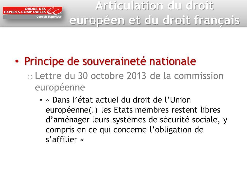 Articulation du droit européen et du droit français Principe de souveraineté nationale Principe de souveraineté nationale o Lettre du 30 octobre 2013