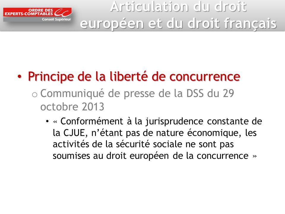 Articulation du droit européen et du droit français Principe de la liberté de concurrence Principe de la liberté de concurrence o Communiqué de presse