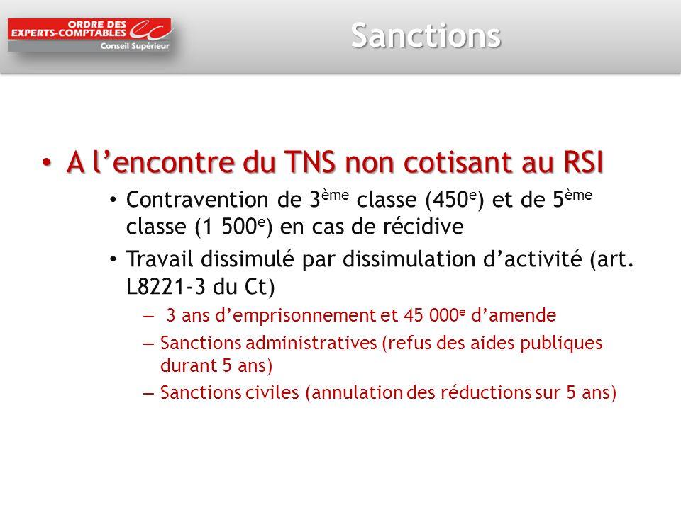 Sanctions A lencontre du TNS non cotisant au RSI A lencontre du TNS non cotisant au RSI Contravention de 3 ème classe (450 e ) et de 5 ème classe (1 5
