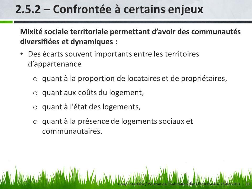 38 2.5.2 – Confrontée à certains enjeux Mixité sociale territoriale permettant davoir des communautés diversifiées et dynamiques : Des écarts souvent