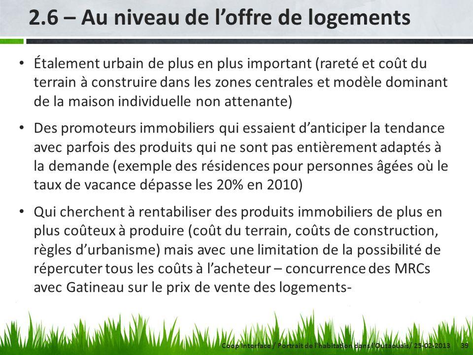 39 2.6 – Au niveau de loffre de logements Étalement urbain de plus en plus important (rareté et coût du terrain à construire dans les zones centrales