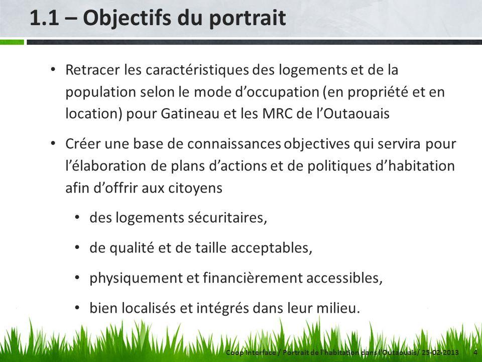 4 1.1 – Objectifs du portrait Retracer les caractéristiques des logements et de la population selon le mode doccupation (en propriété et en location)