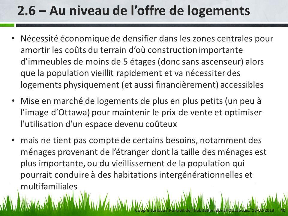 40 2.6 – Au niveau de loffre de logements Nécessité économique de densifier dans les zones centrales pour amortir les coûts du terrain doù constructio