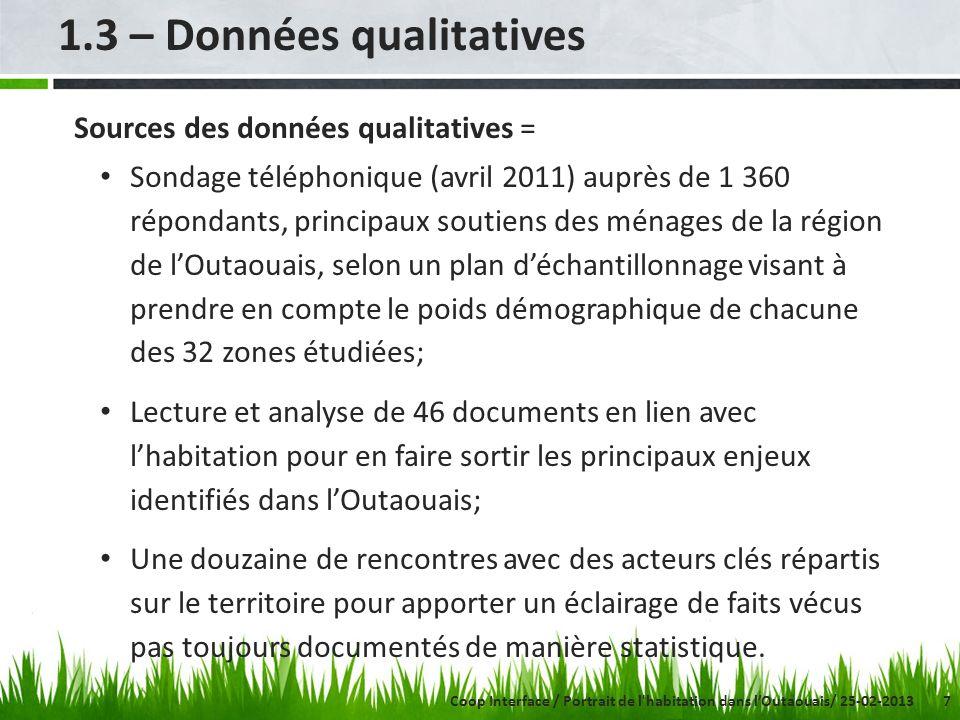 7 1.3 – Données qualitatives Sources des données qualitatives = Sondage téléphonique (avril 2011) auprès de 1 360 répondants, principaux soutiens des