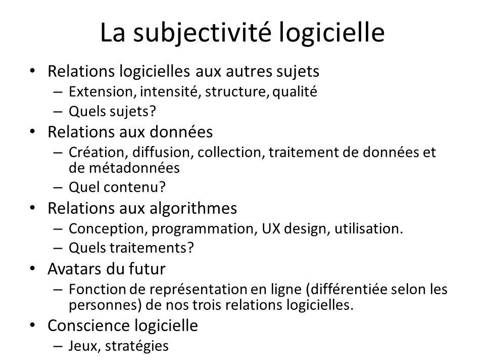 La subjectivité logicielle Relations logicielles aux autres sujets – Extension, intensité, structure, qualité – Quels sujets? Relations aux données –