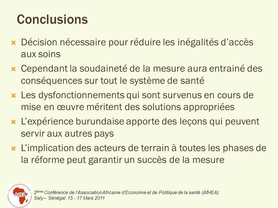 2 ième Conférence de lAssociation Africaine dEconomie et de Politique de la santé (AfHEA) Saly – Sénégal, 15 - 17 Mars 2011 Conclusions Décision néces