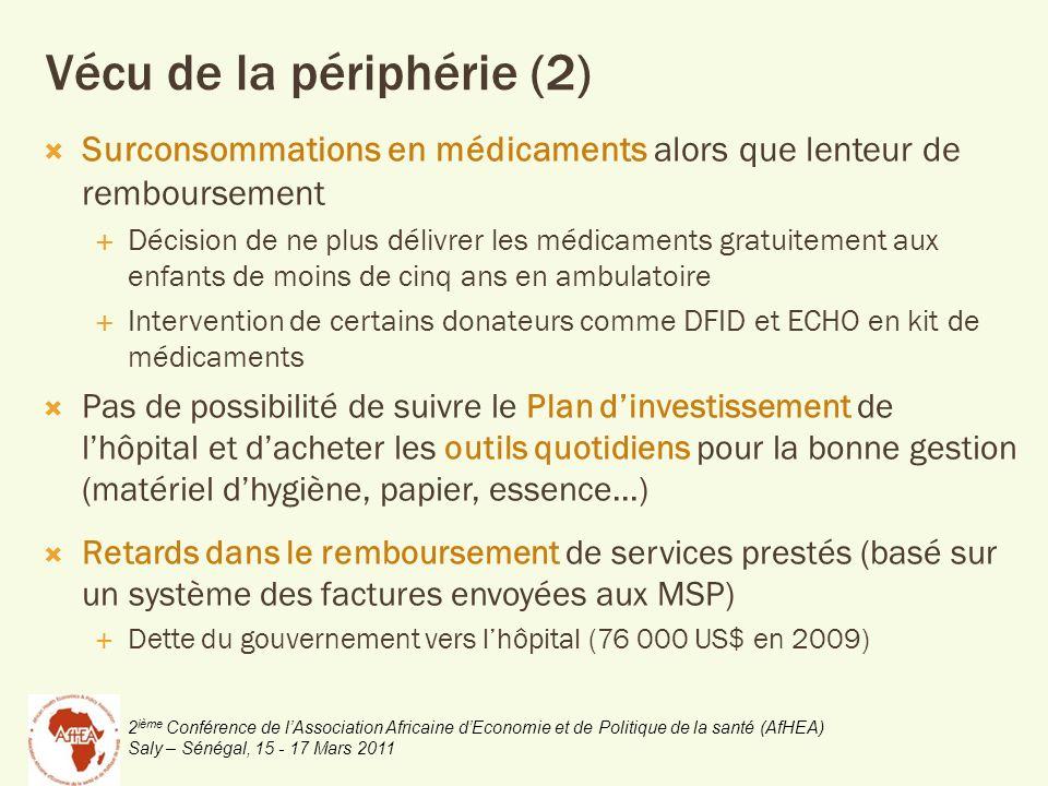 2 ième Conférence de lAssociation Africaine dEconomie et de Politique de la santé (AfHEA) Saly – Sénégal, 15 - 17 Mars 2011 Vécu de la périphérie (2)