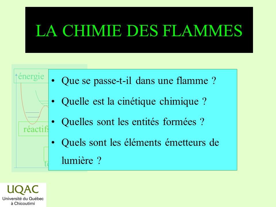 réactifs produits énergie temps LA CHIMIE DES FLAMMES Que se passe-t-il dans une flamme .