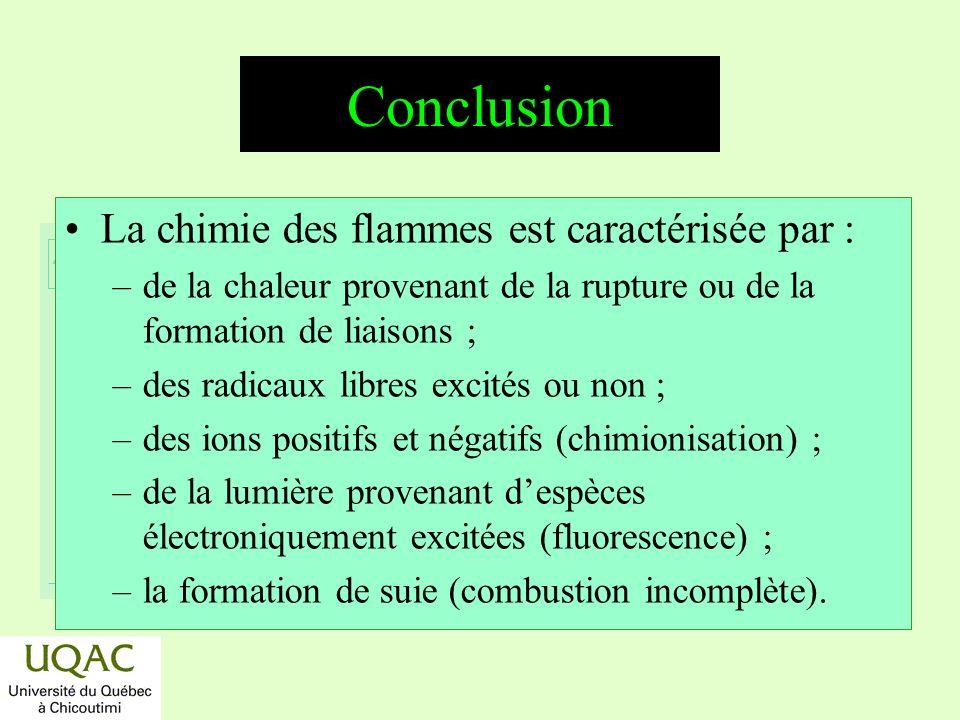 réactifs produits énergie temps Conclusion La chimie des flammes est caractérisée par : –de la chaleur provenant de la rupture ou de la formation de liaisons ; –des radicaux libres excités ou non ; –des ions positifs et négatifs (chimionisation) ; –de la lumière provenant despèces électroniquement excitées (fluorescence) ; –la formation de suie (combustion incomplète).