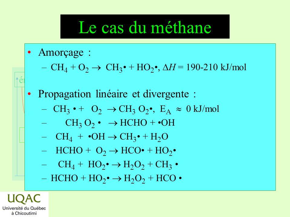 réactifs produits énergie temps Le cas du méthane Amorçage : –CH 4 + O 2 CH 3 + HO 2, H = 190-210 kJ/mol Propagation linéaire et divergente : – CH 3 + O 2 CH 3 O 2, E A 0 kJ/mol – CH 3 O 2 HCHO + OH – CH 4 + OH CH 3 + H 2 O – HCHO + O 2 HCO + HO 2 – CH 4 + HO 2 H 2 O 2 + CH 3 –HCHO + HO 2 H 2 O 2 + HCO