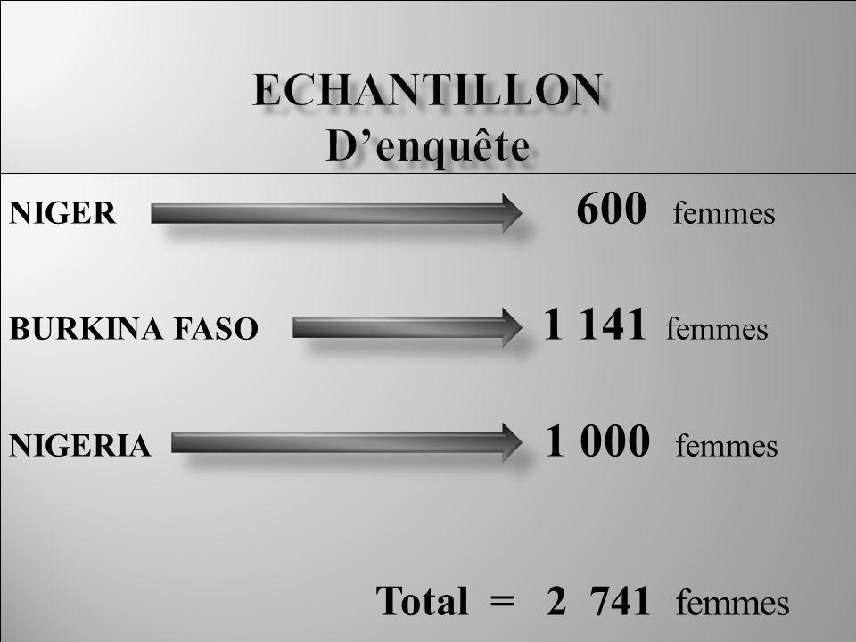 NIGER 600 femmes BURKINA FASO 1 141 femmes NIGERIA 1 000 femmes Total = 2 741 femmes NIGER 600 femmes BURKINA FASO 1 141 femmes NIGERIA 1 000 femmes Total = 2 741 femmes