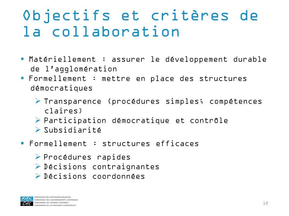 18 Matériellement : assurer le développement durable de l'agglomération Formellement : mettre en place des structures démocratiques Transparence (proc