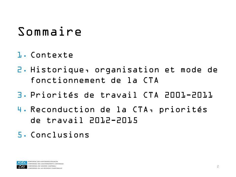 2 1.Contexte 2.Historique, organisation et mode de fonctionnement de la CTA 3.Priorités de travail CTA 2001-2011 4.Reconduction de la CTA, priorités d